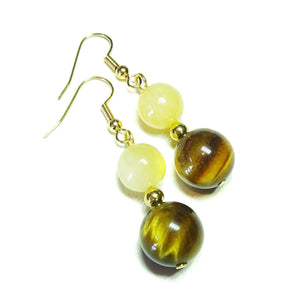 Brown Tiger's Eye & Honey Jade Gemstone Earrings