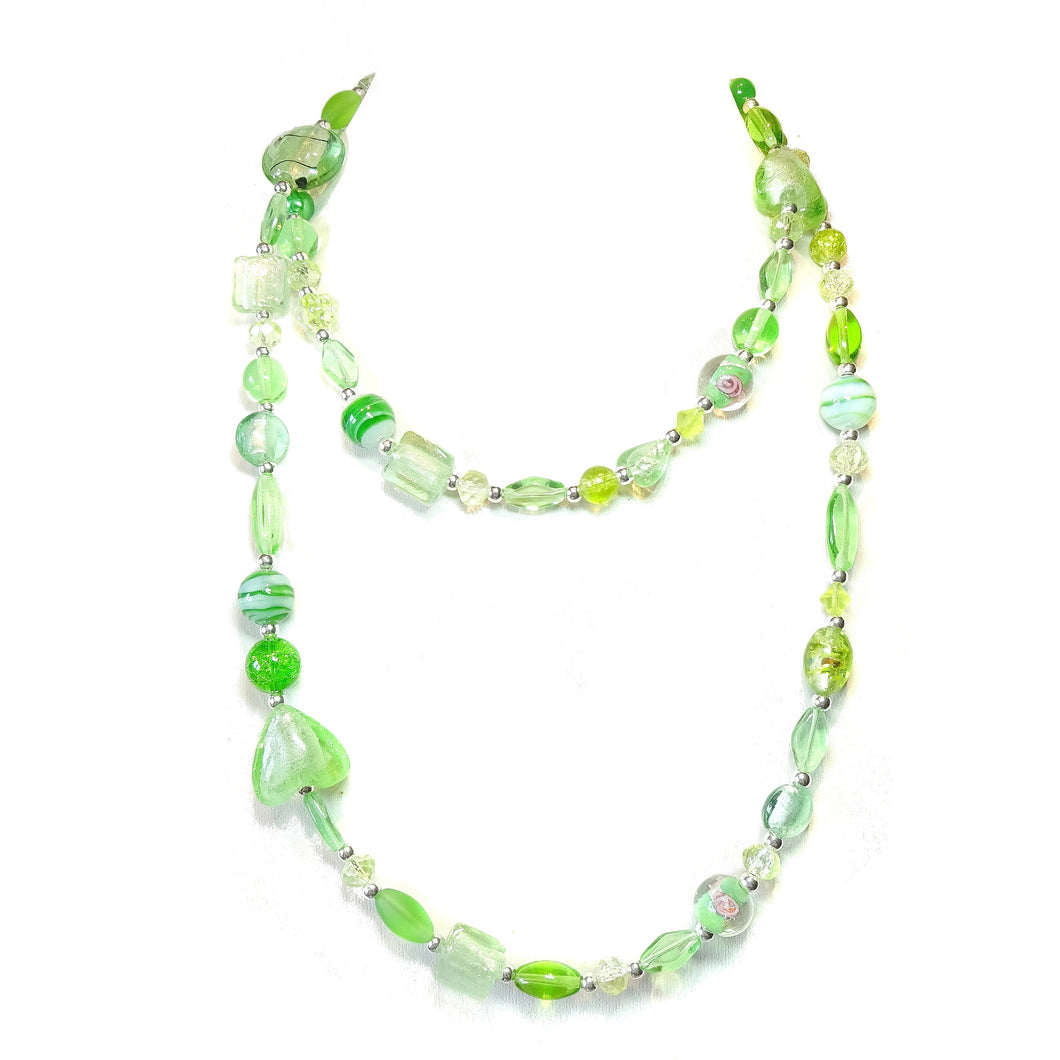 Boho Style Long Mixed Bead Necklace - Pale Green 40