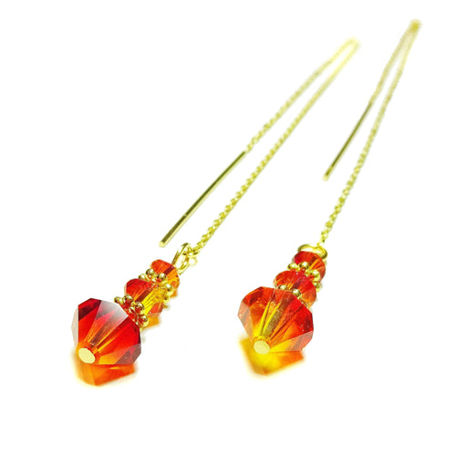 Orange & Red Fire Opal Swarovski Gold Vermeil Long Drop Chain Ear Threads - 178mm