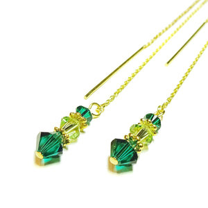 Emerald Green Swarovski Gold Vermeil Long Drop Chain Ear Threads - 174mm