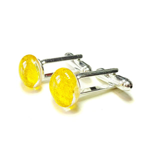 Yellow Dichroic Fused Glass Cufflinks