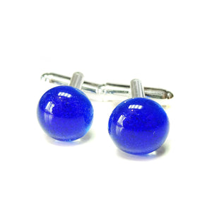 Blue Handmade Dichroic Fused Glass Cufflinks