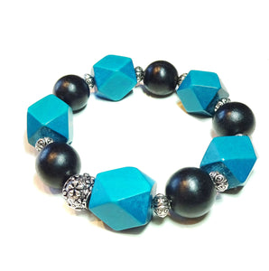 Teal Blue & Black Geometric Wood Bead Chunky Stretch Bracelet 21cm