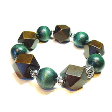 Load image into Gallery viewer, Green & Dark Brown Wood Bead Chunky Stretch Bracelet 21.5cm