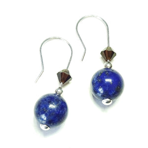 Blue Lapis Lazuli Gemstone and Mocca Swarovski Crystal & Sterling Silver Drop Earrings