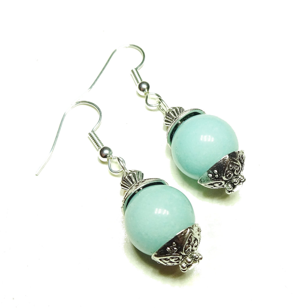 Aqua Blue Quartz Gemstone Drop Earrings
