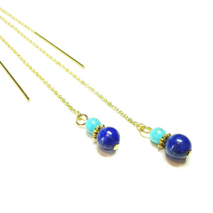 Blue Lapis Lazuli & Turquoise Gemstone Gold Vermeil Pull Through Earrings 170mm