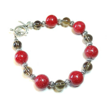 Load image into Gallery viewer, Red Mountain Jade & Smokey Quartz Gemstone Bracelet 21.5cm