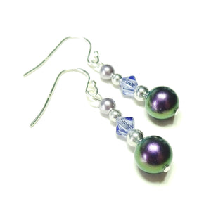 Purple Classic Swarovski Pearl, Crystal and Sterling Silver Earrings