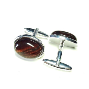 Red Tiger's Eye Semi-precious Gemstone Cufflinks - Angled