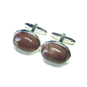 Purple Aventurine Semi-precious Gemstone Cufflinks - Angled