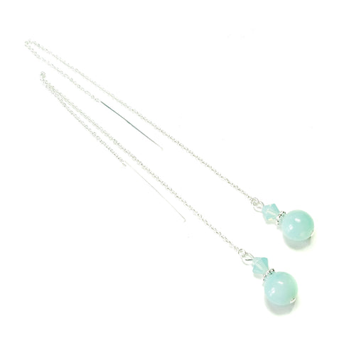Blue Amazonite Gemstone & Swarovski Crystal Sterling Silver Long Drop Chain Ear Threads - 174mm