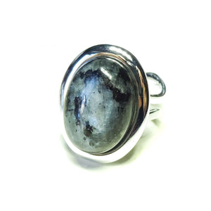 Grey Larvikite Classic Semi-precious Gemstone Adjustable Ring 23 x 17mm