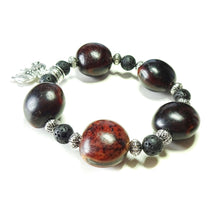 Load image into Gallery viewer, Brown Seed Pod & Black Lava Stretch Bracelet