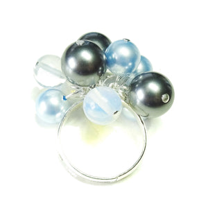 Grey, Blue Swarovski Pearl & Opalite Cha Cha Ring - Adjustable