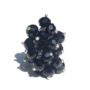Black Crystal Cha Cha Cluster Ring - Adjustable