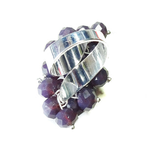 Purple Crystal Cha Cha Cluster Ring - Adjustable