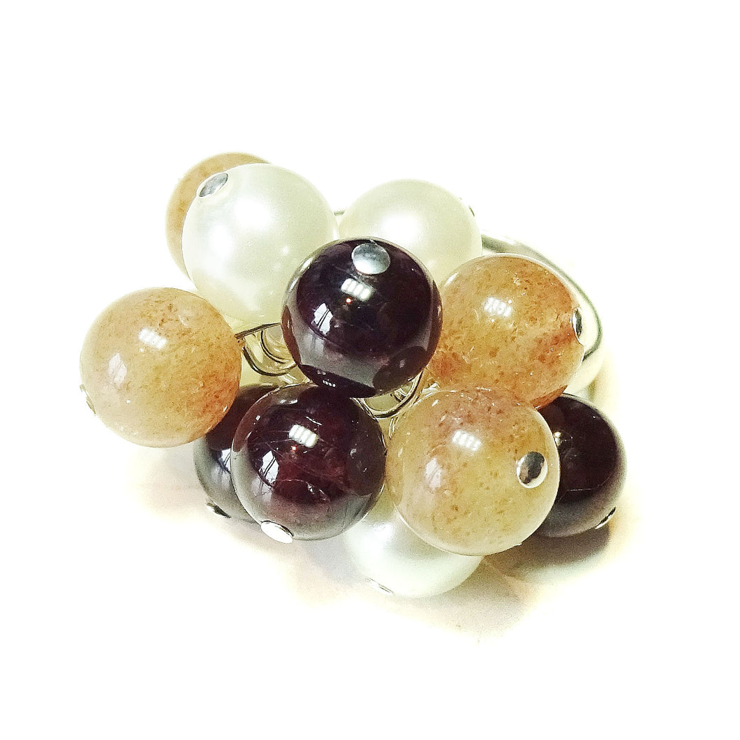 Red Garnet, Sunstone & Ivory Pearl Cha Cha Ring - Adjustable