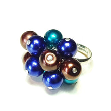 Load image into Gallery viewer, Teal, Navy Blue & Brown Pearl Cha Cha Ring - Adjustable