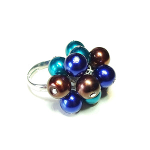Teal, Navy Blue & Brown Pearl Cha Cha Ring - Adjustable