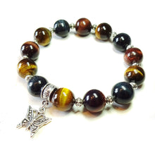 Load image into Gallery viewer, Brown, Red & Blue Tiger's Eye Gemstone Handmade Stretch Bracelet Ap. 20cm