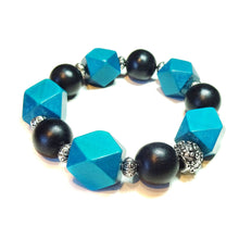 Load image into Gallery viewer, Teal Blue & Black Geometric Wood Bead Chunky Stretch Bracelet 21cm