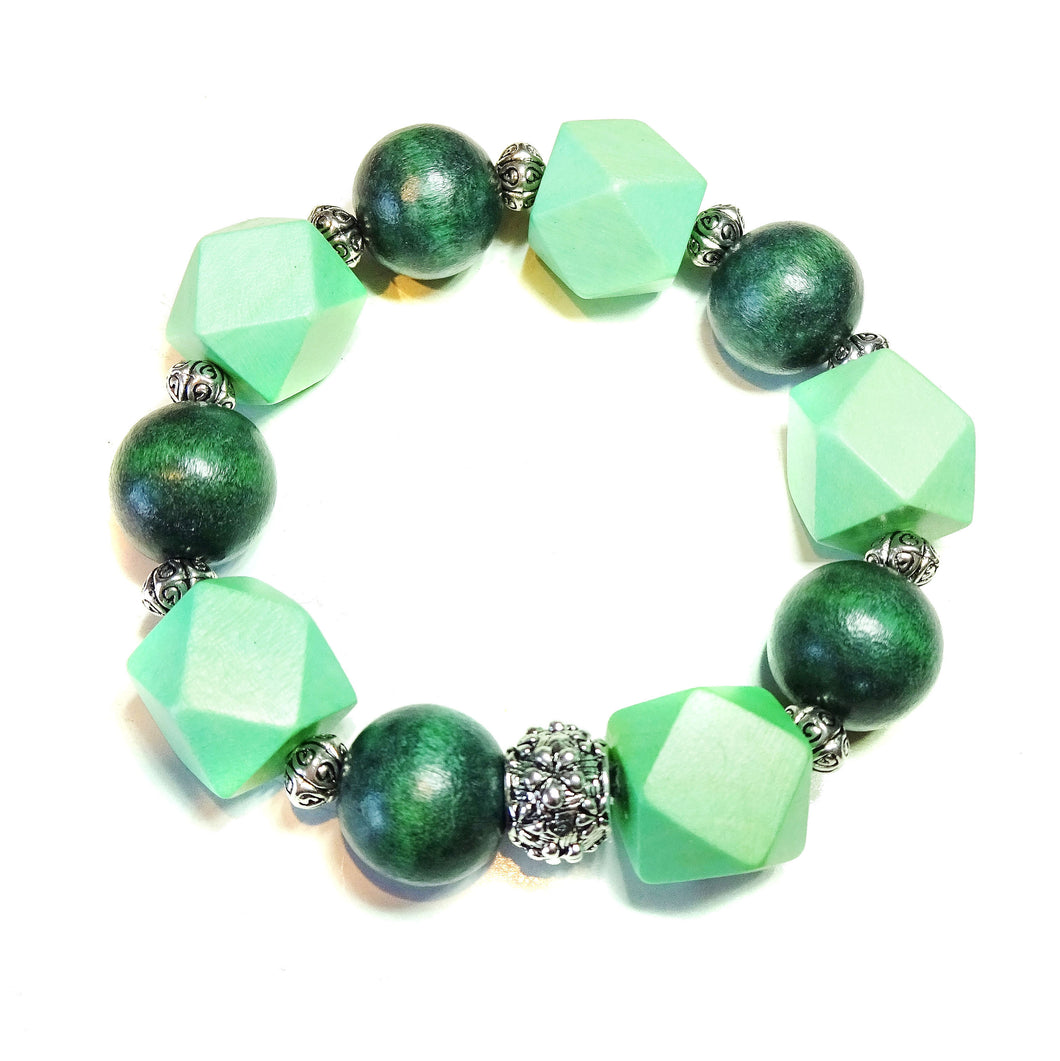 Green Geometric Wood Bead Chunky Stretch Bracelet 21cm