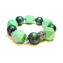 Load image into Gallery viewer, Green Geometric Wood Bead Chunky Stretch Bracelet 21cm