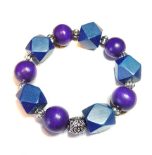 Load image into Gallery viewer, Purple & Navy Blue Geometric Wood Bead Chunky Stretch Bracelet 21.5cm