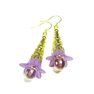 Purple Gold Plated Filigree Lucite Lily Flower & Faceted Crystal Earrings