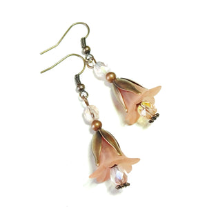 Peach & Copper Vintage Style Lucite Flower Earrings