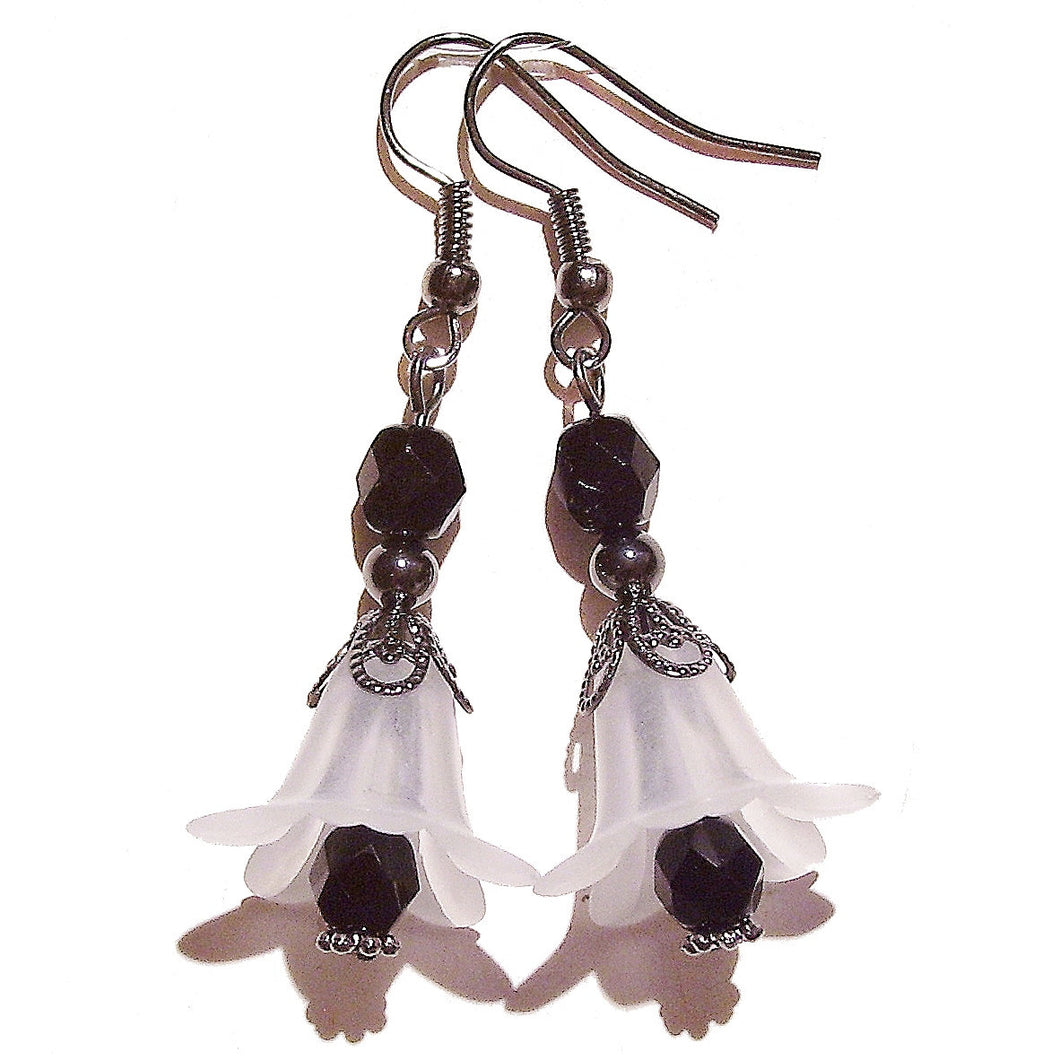 White & Black Vintage Style Gunmetal Lucite Lily Flower Earrings