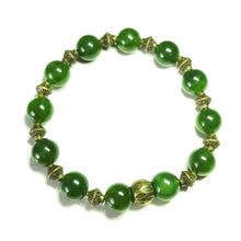 Load image into Gallery viewer, Taiwan Jade Gemstone & Antique Brass Stretch Bracelet - 20.5cm