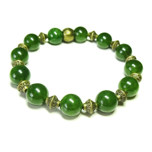 Taiwan Jade Gemstone & Antique Brass Stretch Bracelet - 20.5cm