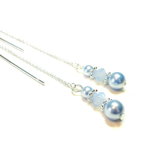 Sky Blue Swarovski Pearl & Sterling Silver Long Drop Chain Ear Threads - 172mm