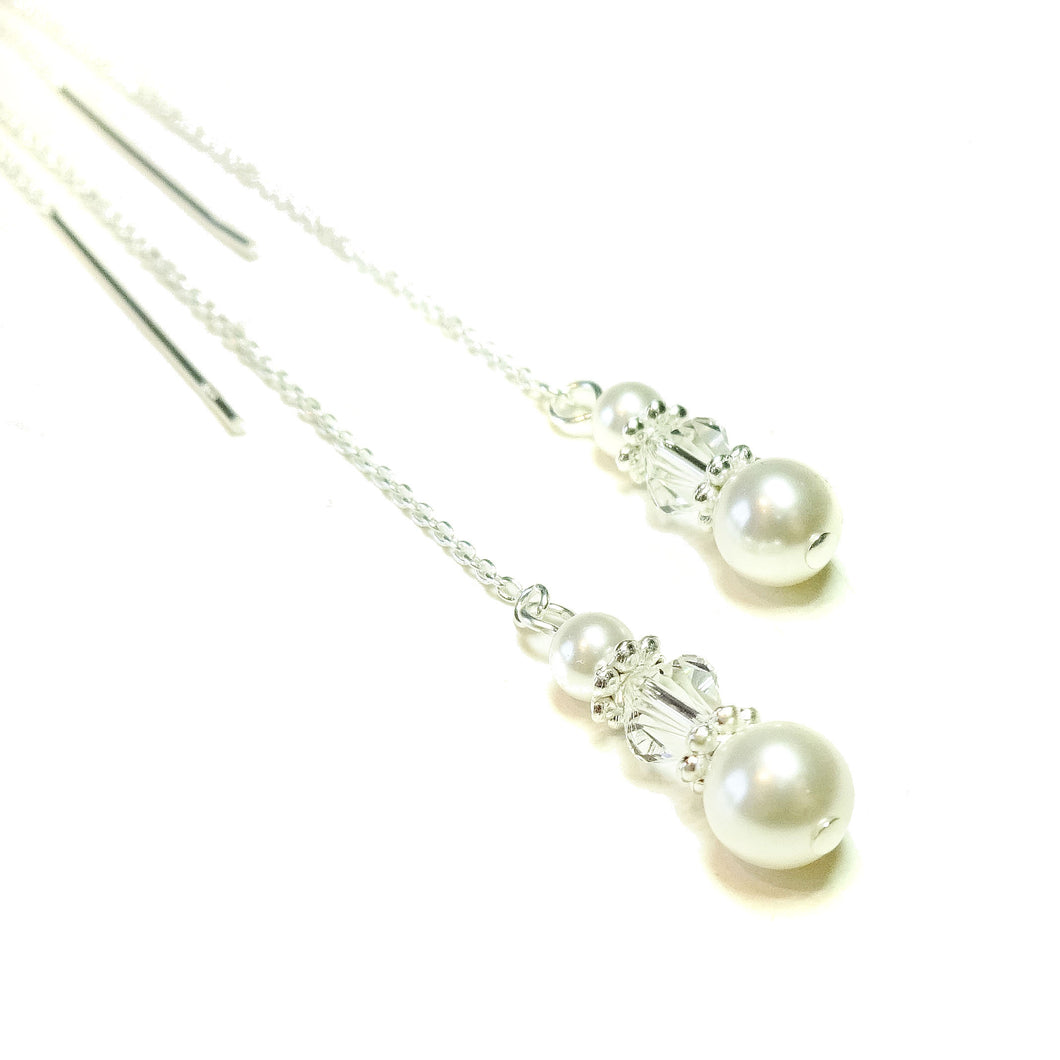 White Swarovski Pearl & Sterling Silver Long Drop Chain Ear Threads - 172mm