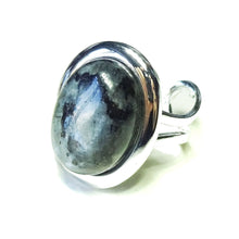 Load image into Gallery viewer, Grey Larvikite Classic Semi-precious Gemstone Adjustable Ring 23 x 17mm