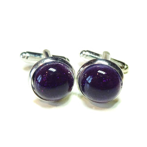 Blackberry Purple Handmade Dichroic Fused Glass Cufflinks
