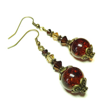 Load image into Gallery viewer, Brown Vintage Style Antique Brass Cracked Glass Earrings w. Swarovski Crystals