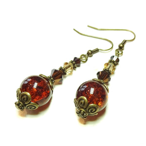 Brown Vintage Style Antique Brass Cracked Glass Earrings w. Swarovski Crystals