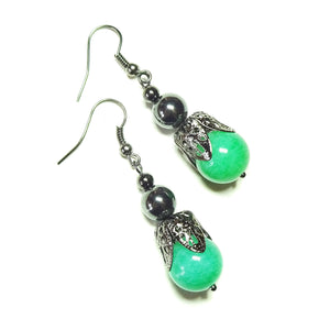 Green Jade Gemstone Gunmetal Black Filigree Earrings