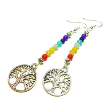 Load image into Gallery viewer, Tree of Life Gemstone Chakra Rainbow Earrings