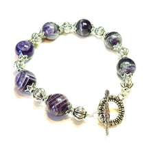 Load image into Gallery viewer, Natural Purple Amethyst Gemstone Bracelet 21.5cm