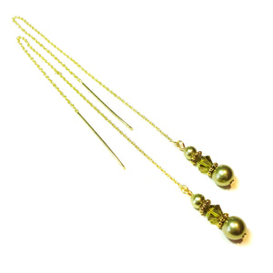Olive Green Swarovski Pearl Gold Vermeil Long Drop Chain Ear Threads - 174mm