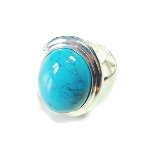 Blue Turquoise Gemstone Ribbed Edge Ring