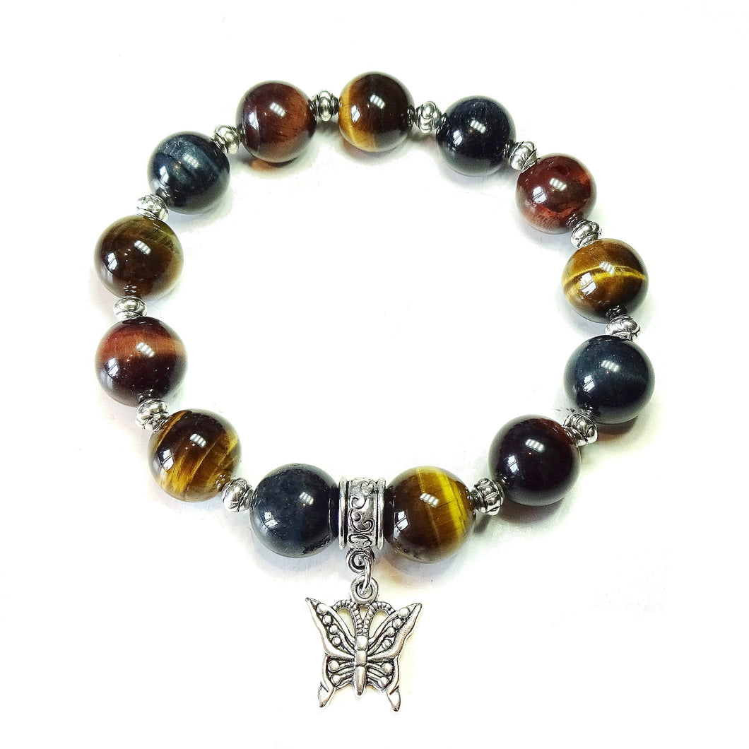 Brown, Red & Blue Tiger's Eye Gemstone Handmade Stretch Bracelet Ap. 20cm
