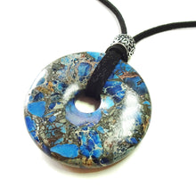 Load image into Gallery viewer, Blue Sea Sediment Jasper & Pyrite Large Round Gemstone Donut Pendant - 50mm