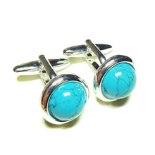Load image into Gallery viewer, Blue Turquoise Round Gemstone Cufflinks - Angled