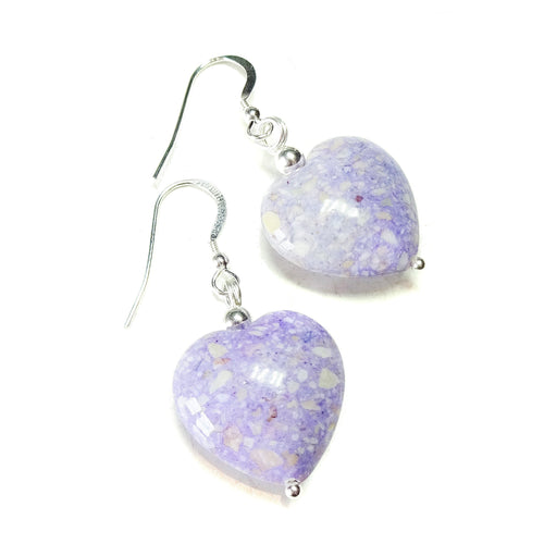 Pastel Purple Turquoise Heart & Sterling Silver Gemstone Earrings