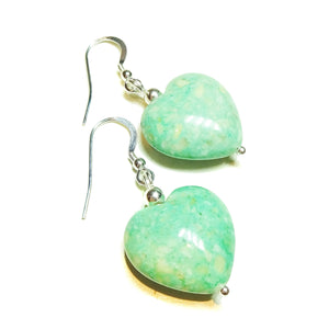 Pastel Green Turquoise Heart & Sterling Silver Gemstone Earrings